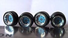 HOT WHEELS RUBBER TIRES SET  BBS TYPE STAR BLUE CHROME NEW REAL RIDERS ALL SMALL