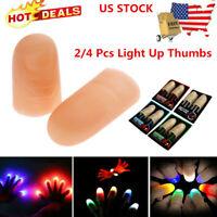 2/4x LED Light up Finger Thumbs Light Multi Color Magic Prop Party Bar Show Lamp