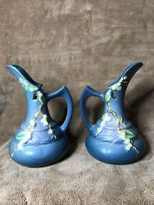 2- VINTAGE ROSEVILLE ART POTTERY SNOWBERRY EWER PITCHER COBALT BLUE SET ITK-6
