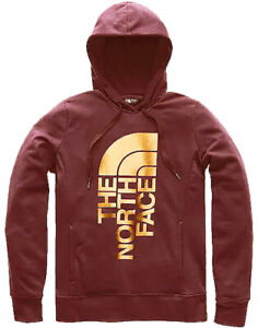 The North Face Women's Foil Logo Pullover Hoodie; Cranberry (Large)