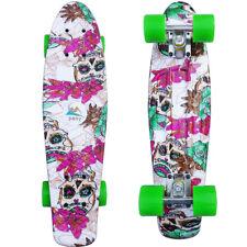 "Retro Cruiser Skateboard Complete 22"" Board Plastic Skull Flowers Drift Board Us"