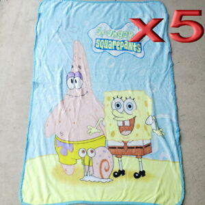 5pc Wholesale All Season Kids Fur Fleece Spongebob Blanket Polar Throw Soft