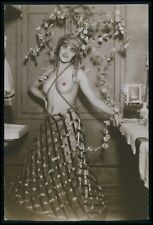 French nude woman showgirl backstage original c1910-1920s photo postcard