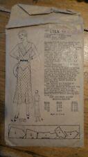 Antique DRESS PATTERN #1918 Sz 18 Yr Bust 36, Sleeveless Dress 1930's