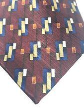 Meeting Street Tie 100% Silk Geometric Burgundy Gold Blue Classic NWT