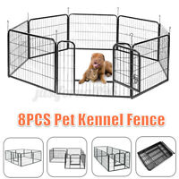 8 Panel Heavy Duty Metal Cage Crate Pet Dog Exercise Fence Playpen Kennel Indoor