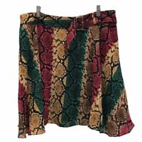 INC International Concepts Womens Skirt Red Gold Green Snake Print Belted 16 New