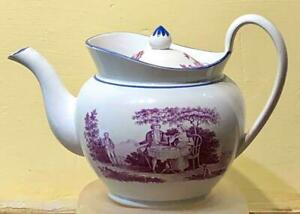 """Staffordshire Pink Transfer Globular Teapot, """"Tea Party"""" Scene, Possibly Sewell"""