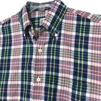 Peter Millar Short Sleeve Button Front Shirt Mens S Small Pink Blue Green Plaid