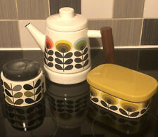 More details for orla kiely house flowers -teapot, butter dish and storage jar. retro style.