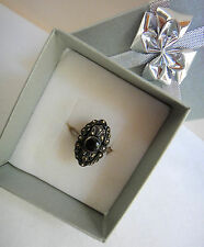 Vintage SS Marcasite Black Jet Onyx Filagree Ring Oval Shaped Size 7.25 Marked