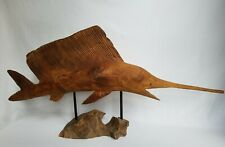 More details for large teak root marlin fish/hand carved/solid wood/rustic/decorative 102cm