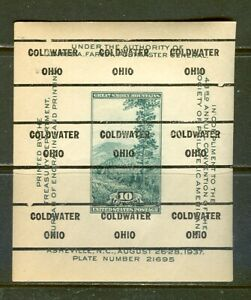 Coldwater OH 209 precancel on 1937 SPA Souvenir Sheet, Scott 797
