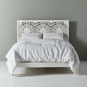 MADE TO ORDER Dynasty Low Line Hand Carved Indian Wooden King Size Bed White XL