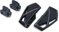 Kuryakyn Gloss Black Phantom Mini Floorboards Front Adapters Honda VTX1300 KIT