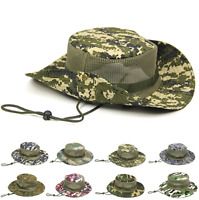 Army Camo Mesh Mens Boonie Hat Wide Brim Sun Hat Bucket Hat Caps Hunting Fishing
