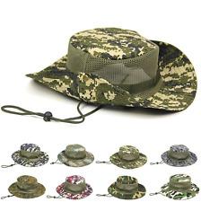 Army Camo Mesh Mens Boonie Hat Wide Brim Sun Hat Bucket Hat Caps Hunting Fishing