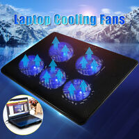 5 Fans  LED USB Port Cooling Stand Pad Cooler For 12''-17'' Laptop Notebook new