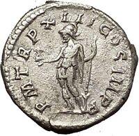 SEPTIMIUS SEVERUS 205AD Silver Ancient Roman Coin Virtus Courage  i54152