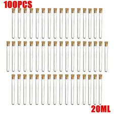 100PCS 20ml Clear Plastic Test Tube With Cork Stopper Volume Candy Party Wedding