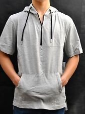 Men's Hoodie Size S Short Sleeve Zip Front Gray Jacket Thin Sweatshirt Top New