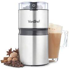 VonShef Premium Coffee Grinder 150W Stainless Steel Mill Grind Beans Nuts Spices