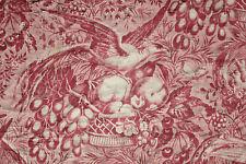 Antique French toile de Alsace bird pink printed bed valance pelmet c1830