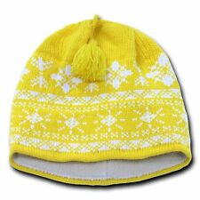 Yellow & White Snowflake Nordic Beanie Hat Ski Snowboard Winter Warm Knit Cap
