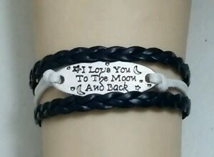 """LOVE YOU TO THE MOON & BACK ADJUSTABLE LEATHER BRACELET -6 1/2""""-8 1/2""""- #284"""