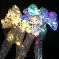 LED Christmas Tree Ribbon Bows Light Colorful Ornaments Home Party Garland Decor