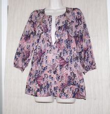 Rutzou Anthropolodie Silk Multi Color Print Blouse 3/4 Sleeve Tunic Size:6