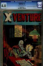 X-VENTURE #1- CGC 4.0- RARE ATOM WIZARD & MYSTERY SHADOW BEGIN- 1947