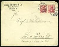 GERMANY REICH PLAUEN 12/31/12 COVER TO SAO PAULO, BRASIL