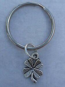 Tibetan Silver FOUR LEAF CLOVER Keyring/Bag Charm. Present/Gift. GOOD LUCK.