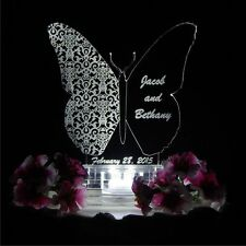 Butterfly Shape Lighted Wedding Cake Topper Custom LED Acrylic Personalized