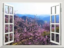 """Wall Mural - Spring Flowers in the Valley   Window View Home Decor- 36""""x48"""""""