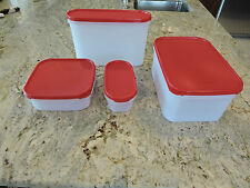 Tupperware 4-piece Modular Mates Oval, Square, Rectangle Pantry Set-Red Lids