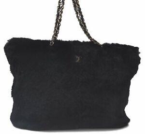 Authentic CHANEL Rabbit Fur Lapin CC Logo Cain Shoulder Tote Bag Black C4972