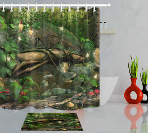 Fantasy Forest Butterfly Elf Shower Curtain Set Bathroom Polyester Fabric Hooks