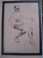 Figure drawing nude expressive, charcoal / paper, woman sitting 3, A2/A1 size @
