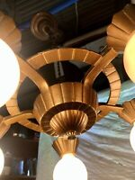 1930s Art Deco 5-bulb Chandelier - All new wiring and paint! - Cast Iron