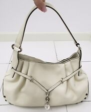 TOD'S Cream Hobo/Shoulder Bag With Silver Hardware and Rubber Stud Accents