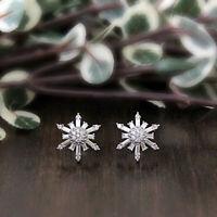 Cluster Flower Stud Earrings 14k White Gold Fn 1 Ct Round & Baguette Cut Diamond