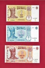 2015 MOLDOVA UNC NOTES 1 Leu (P-21), 5 Lei (P-21 Aa) & 10 Lei (P-22a) PRINTER BF