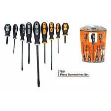 screwdriver 9 piece set. screw driver. phillips flathead. new. rubber soft grip