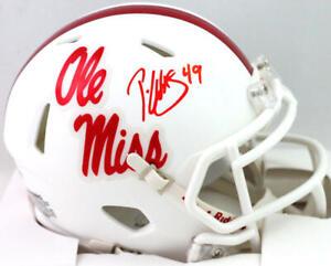 Patrick Willis Autographed Ole Miss White Speed Mini Helmet- Beckett W *Red