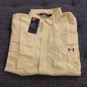 Nwt Under Armour Heatgear Casual SS Button Up Mens Size Large Yellow D14