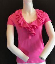 BNWT RALPH LAUREN Pretty Pink 100% Cotton Ruffle Neck Short Sleeve Top Size XS
