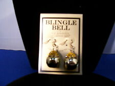 Christmas Earrings Jingle Bell Blingle Bell Gold with Amber Rhinestones 3