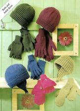 LADIES MENS CHLDS HATS GLOVES KNITTING PATTERN  DOUBLE KNIT (1404)